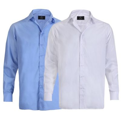 Ciro Citterio Mens Long Sleeve Formal Collared Dress Shirt 2 Pack 16