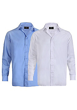 Ciro Citterio Mens Long Sleeve Formal Collared Dress Shirt 2 Pack - Multi