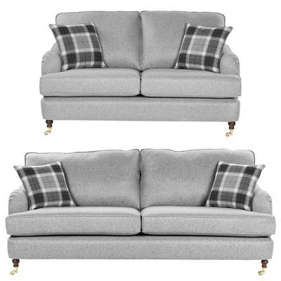 Fox & Ivy Carrington 2.5 Seater Sofa + 3 Seater Sofa Set, Grey