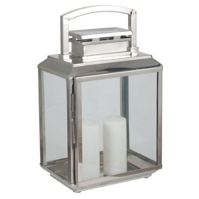 Shiny Nickel Stainless Steel Oblong Lantern Small
