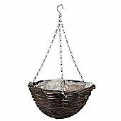 1 x 12-inch Natural Rattan Hanging Basket