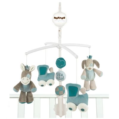Nattou Musical Baby Cot Mobile - Gaston and Cyril