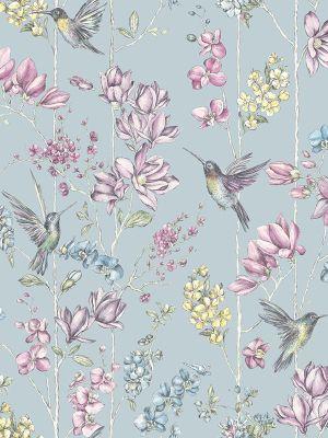 Holden Floral Charm Hummingbird Wallpaper - Duck Egg 12391