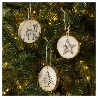 Festive Wooden Christmas Tree Decorations, 6 pack - Buy Festive Wooden Christmas Tree Decorations, 6 Pack From Our All