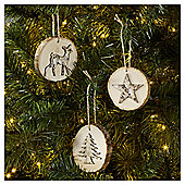 Festive Wooden Christmas Tree Decorations, 6 pack