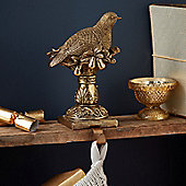 Gold Partridge Christmas Stocking Hanger
