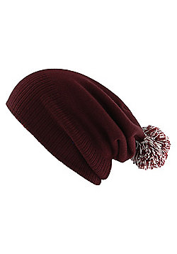 Snowstar White and Burgundy Beanie - Purple