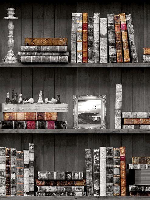 Holden Bookcases Wallpaper Black 11951