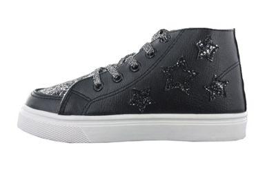 Girls Buckle My Shoe Glitter Black Hi Top Fashion Trainer Shoe UK Child Size 7