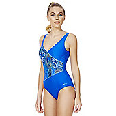 Zoggs Swimshapes Body Shaping Paisley Panel Swimsuit - Blue