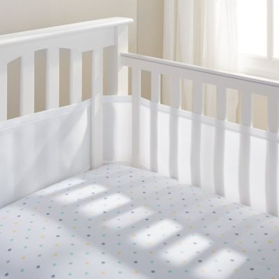 Breathable Baby Airflow 4-Sided Mesh Cot Liner - White