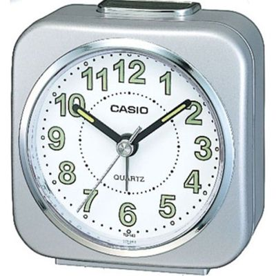 Casio TQ-143S-8EF Travel Quartz Analogue Luminous Bedside Snooze Alarm Clock - Silver