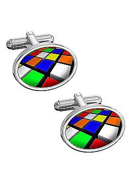Sub Text Oval Retro Squares Cufflinks By WD London