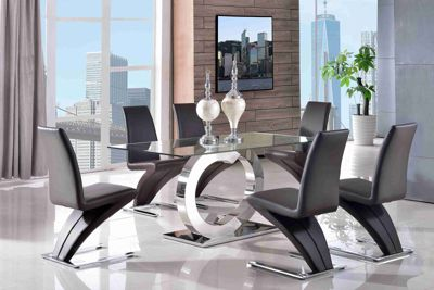 Channel Glass and Polished Stainless Steel 160 cm Dining Table with 6 Brown Zed Chairs