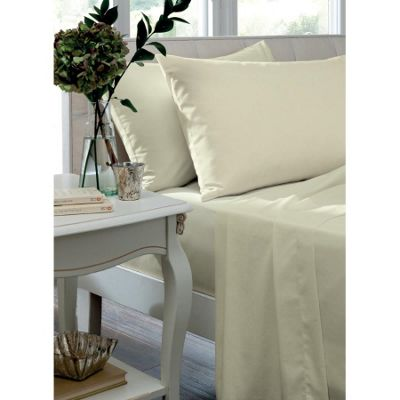 Catherine Lansfield Cream Flat Sheet - King