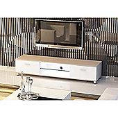 Oak & White Low Rise LED Light & Wood Effect TV Stand