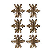 Pack of 6 Gold 3D Snowflake Hanging Ornaments