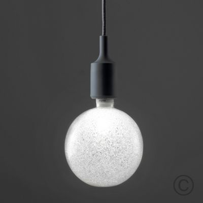 Modern LED Grey Silicone Suspended Ceiling Fitting & White Sparkle Globe Bulb