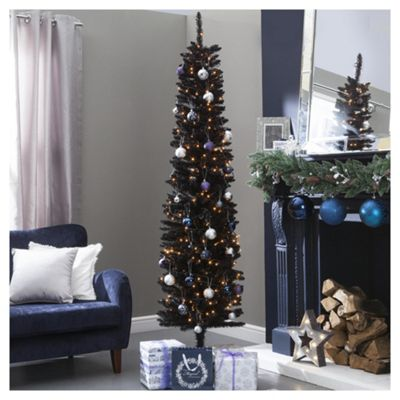 6.5ft Slim Christmas Tree, Black - Buy 6.5ft Slim Christmas Tree, Black From Our Christmas Trees Range