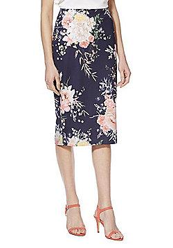 F&F Floral Print Scuba Skirt - Navy/Multi