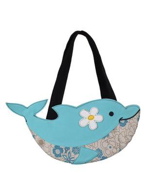 Dolphin Sky Blue Canvas Shoulder Bag 46x20cm