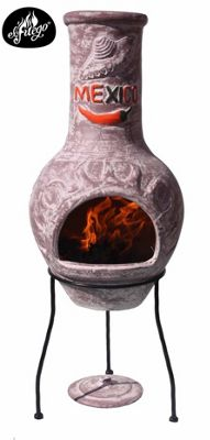 Mexico clay chimenea dark red with chili and sombrero