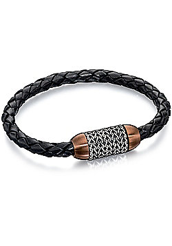 Fred Bennett Stainless Steel Black Leather Brown PVD & Chain Detail Bracelet