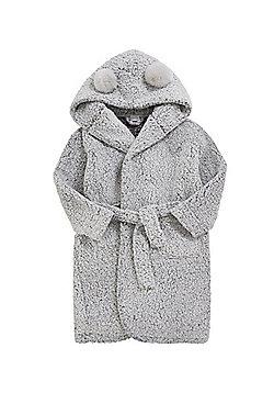 F&F Pom Pom Hooded Dressing Gown - Grey