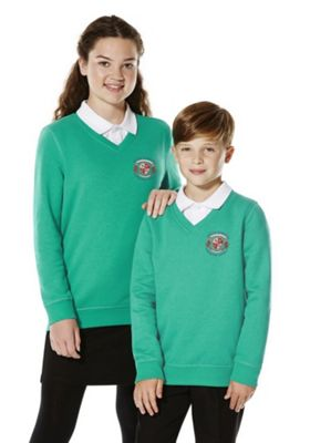 Unisex Embroidered Cotton Blend School V-Neck Sweatshirt with As New Technology 3-4 years Jade green