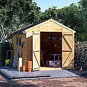 10x8 Tongue and Groove Wooden Workshop Garden Shed Double Door Windowed Apex Premium Roof Floor Felt - 10ftx8ft
