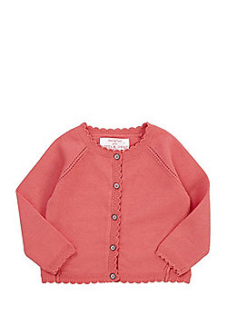 F&F Scallop Edge Button-Through Cardigan with As New Technology - Coral