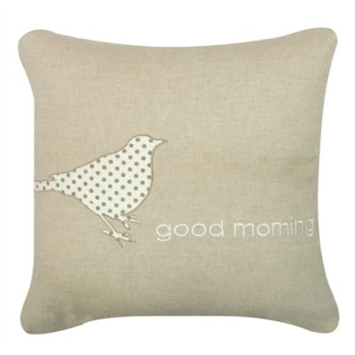 Good Morning' Cushion - Beige & White