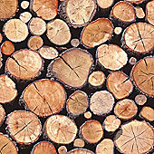 Stacked Logs Wallpaper - Natural - 97710