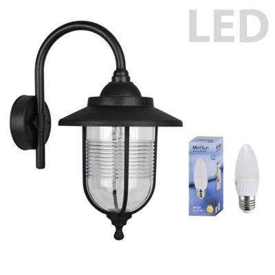 Eyam IP44 Outdoor Swan Neck LED Wall Lantern in Black