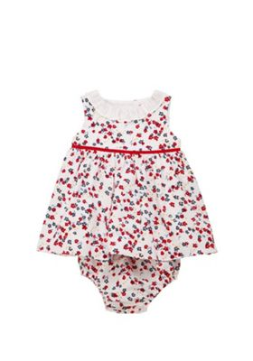 F&F Ditsy Floral Print Dress and Bloomers Set Red Multi 12-18 months