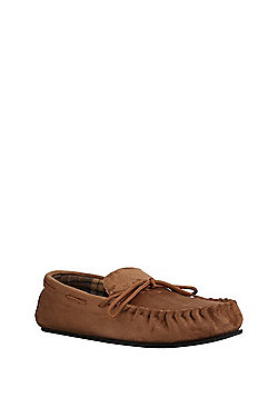 F&F Faux Suede Moccasin Slippers - Tan