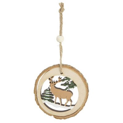 Log Cut Out Christmas Tree Decoration - Stag