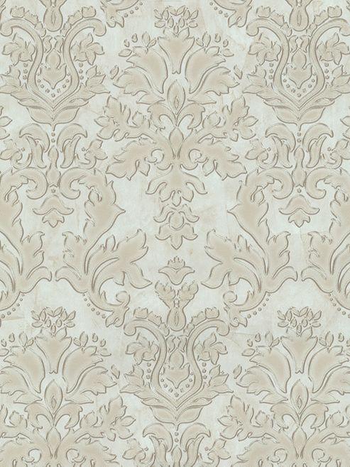 Textured Vinyl Damask Wallpaper Beige and Gold P+S 02485-20