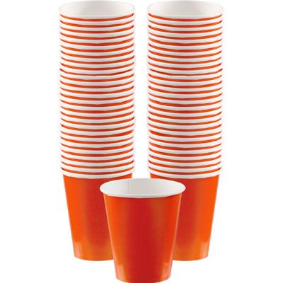 Orange Coffee Cups - 340ml Paper Cups - 40 Pack