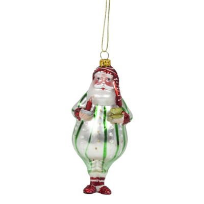 Father Christmas in Green Striped Pyjamas Glass Christmas Tree Bauble