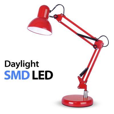 Adjustable Daylight LED Desk Lamp, Gloss Red