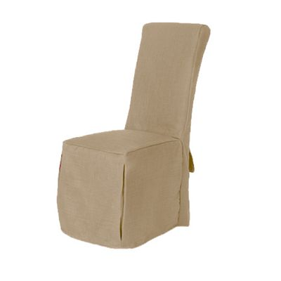 Loft 25 Linen Fabric Scroll Top Dining Chair Covers - Sand Beige