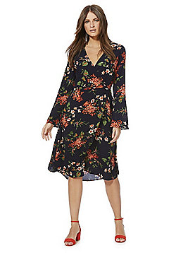 Izabel London Floral Print Midi Wrap Dress - Black Multi