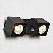 DALLAS OUTDOOR PIR 2 LIGHT CUBE LED WALL BRACKET, BLACK