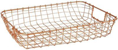 Design Ideas Cabo Letter Basket Woven Wire in Copper
