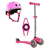 Globber Primo Scooter - Pink with Helmet and LED Light