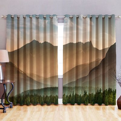 Forest 3D Print Blackout Fabric Eyelet Curtains 52