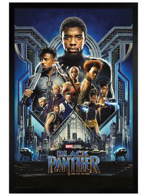 Black Panther Black Wooden Framed Poster 61 x 91.5cm