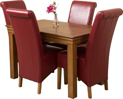 French Chateau Rustic Solid Oak 120 cm Dining Table with 4 Red Montana Chairs