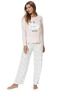 F&F Cloud Print Fleece Pyjamas - Pink